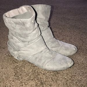 REPORT Gray Faux Suede booties